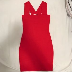 LF Red Square Neck Bodycon dress size XS NWOT